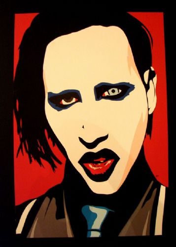 MARILYN MANSON - Popart red canvas print - self adhesive poster - photo print